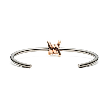 Single Barbed Cuff Taupe + Rose Gold