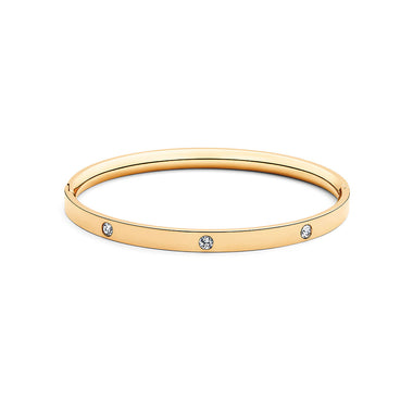 Crystal Ellipse Bangle Gold
