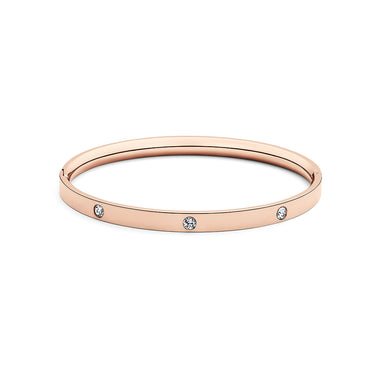 Crystal Ellipse Bangle Rose Gold