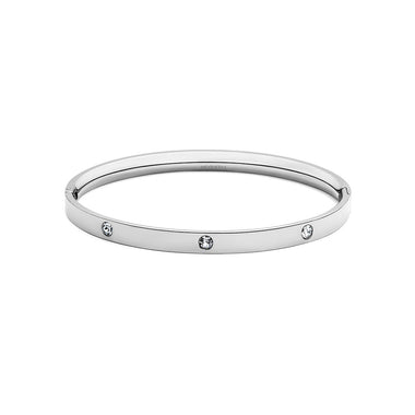 Crystal Ellipse Bangle Silver